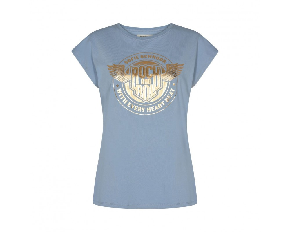 dame t-shirt blå m. print sofie schnoor