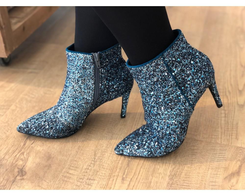 GLITTER BOOT | Sort | Spidse glimmer støvler fra SOFIE