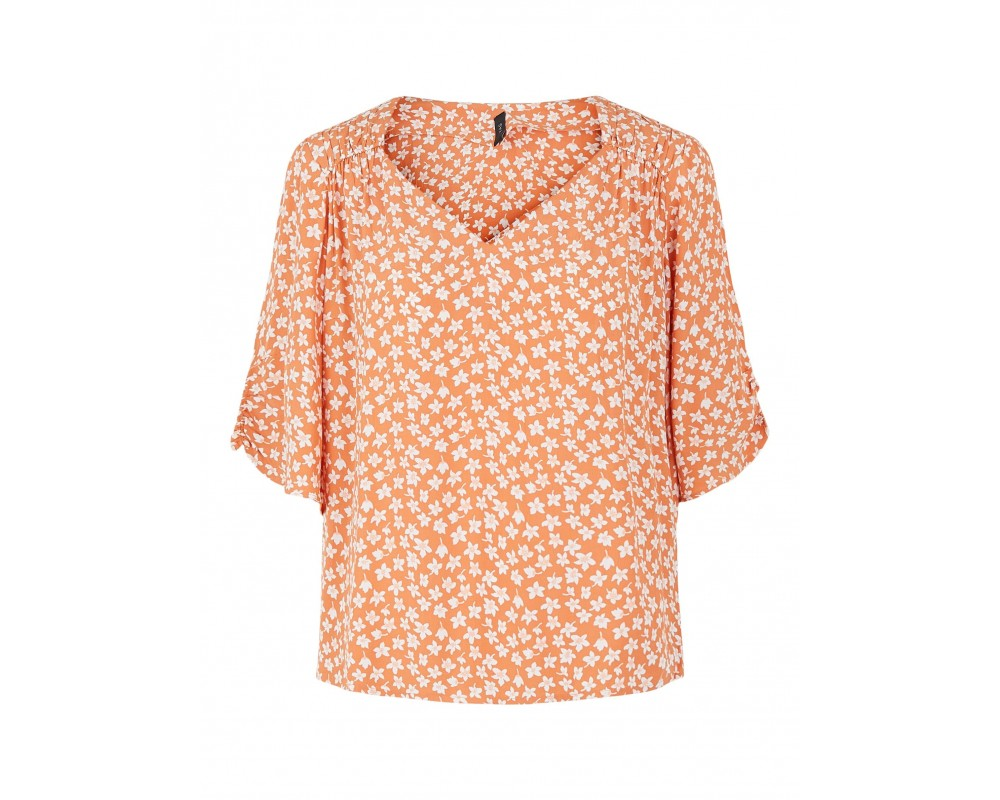 bluse med blomsterprint orange yas