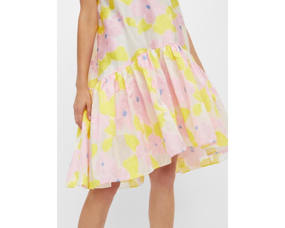 kort kjole med lyserøde blomster yas