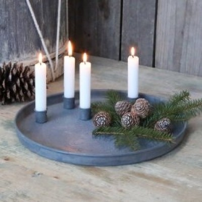 Chic Antique Zink fad med flytbare lyseholdere-31