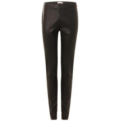 Coster Copenhagen Leather stretch leggings Mynthe black