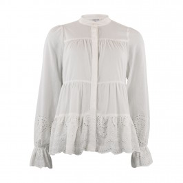 hvid bluse med broderi anglaise continue