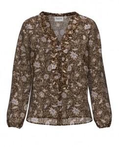 langærmet bluse blomsterprint brun saint tropez