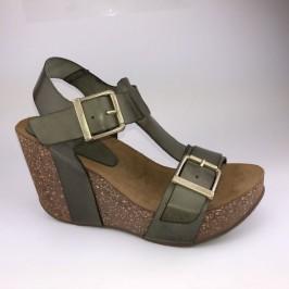 Amust wedge sandal oliven grøn