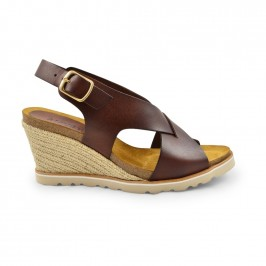 wedge sandal cognac amust