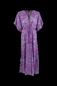 black colour lang kaftan kjole lilla