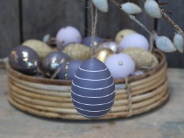 Chic Antique påskeæg i lilla med glimmer striber