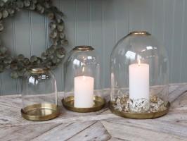 Chic Antique Glasklokke med Fad i Messing