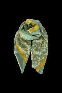 tørklæde m. blomster grønt black colour