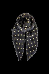 Tørklæde black colour grå med guld dots