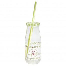 GreenGate Lily petit white Flaske med låg og sugerør