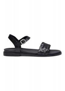 sort dame læder sandal amust
