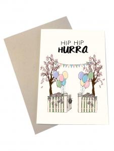 Mouse and Pen fødselsdagskort med kuvert | Hip Hip Hurra