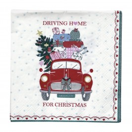 GreenGate Christmas car red papirserviet fra Winter 2019