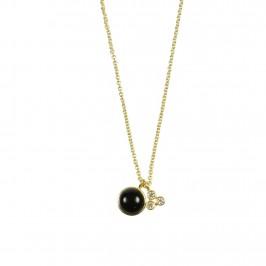 kort guldkæde med sort sten pure by nat
