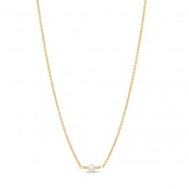 kort guldkæde med perle pure by nat