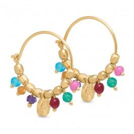 guld creol ørering med farvede sten pure by nat