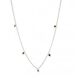 kort sølvkæde med farvede sten pure by nat