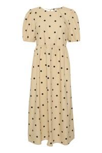 prikket lang kjole saint tropez beige