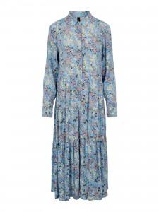 lang blå kjole med blomsterprint yas