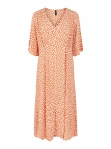 kjole med blomsterprint orange ÿas