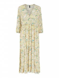 lang kjole blomsterprint eggnog yas