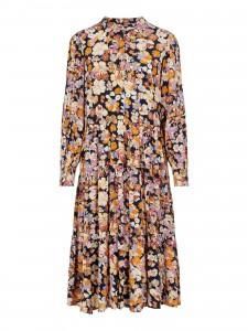 lang blomstret kjole mørkeblå yas