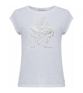 dame t-shirt hvid med guldprint coster copenhagen