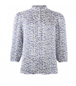3/4 ærme bluse blå hvid continue