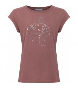 dame t-shirt terrakotta med sølvprint coster copenhagen
