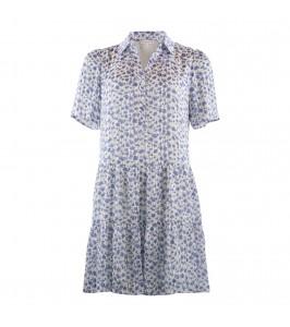kort kjole hvid med blå blomster continue