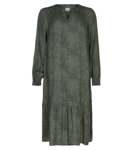 kjole army grøn sort print in front