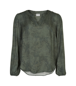 bluse army grøn sort print in front