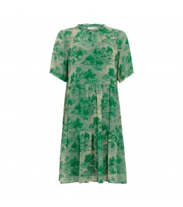 kort kjole i grønt print coster copenhagen