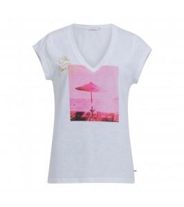 dame t-shirt hvid med print coster copenhagen