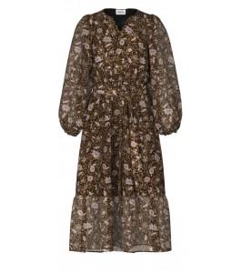 kjole blomsterprint brun saint tropez