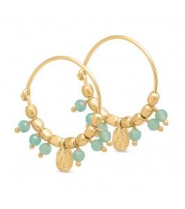 guld creol ørering med grønne sten pure by nat