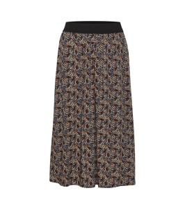 midi lang nederdel sort blomsterprint saint tropez