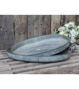 Stor oval Chic Antique bakke i antique zink 64554-00