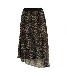 midi lang nederdel leopardprint brun mesh co couture