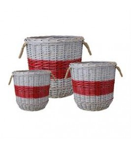 GreenGate Kurve Willow Basket Round Red medium-20