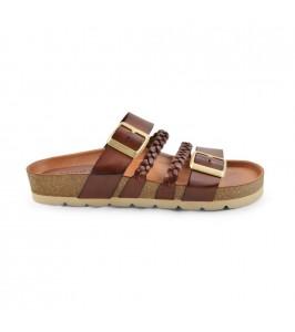 flad sandal cognac amust