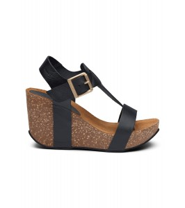høj sandal wedge sort skind amust