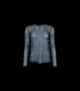 langærmet mesh bluse mørkeblå navy black colour