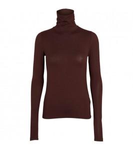 langærmet bluse med rullekrave brun basic apparel