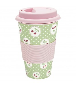 GreenGate Travel mug Cherry berry pale green