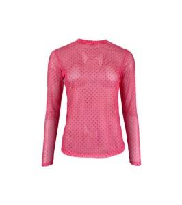 langærmet mesh bluse pink prikker black colour