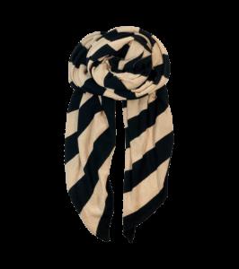 Black Colour stribet tørklæde