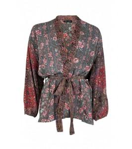 kort kimono multifarvet black colour